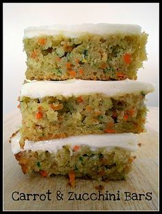 carrot and zucchini bars with lemon cream cheese frosting...get your veggies in a sweet treat!