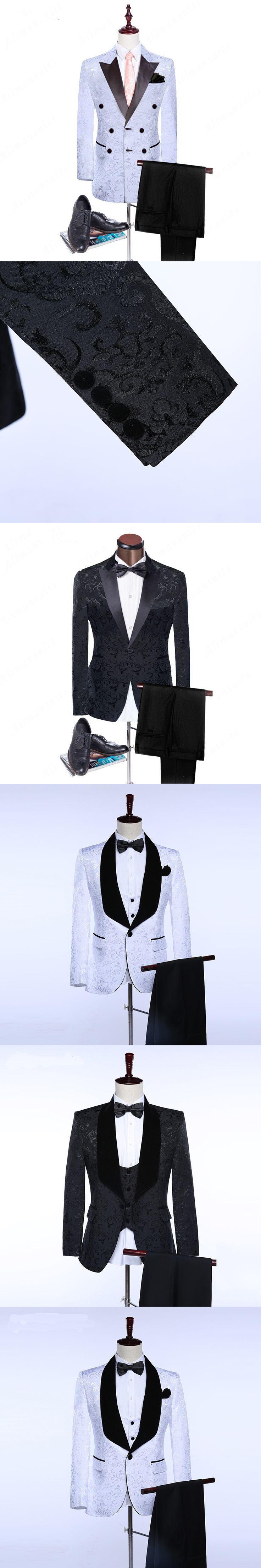 HB001 Brand New Groomsmen Shawl Lapel Groom Tuxedos White Black Men Suits Wedding Best Man Blazer  (Jacket+Pants+Bow Tie+Vest)