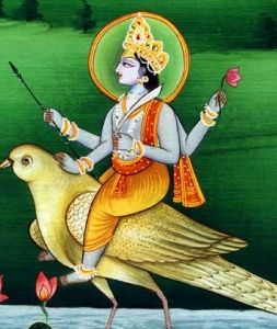 Lord Shani Dev, the son of the Sun god Surya, is embodied in the planet Saturn, and is associated with Saturday. He rides a black crow.