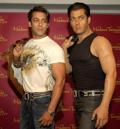Salman Khan with his Wax Statue