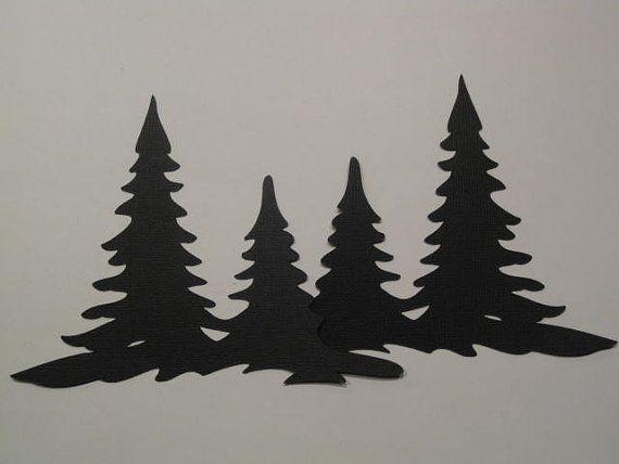 Black Silhouette Die Cut Christmas Tree Border by Rabbittrax