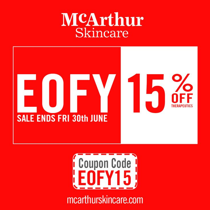 McArthur Skincare 15% OFF Therapeutic Range EOFY Sale  Save 15% OFF the Therapeutic Range of McArthur Skincare products during our EOFY Sale in our online store by using coupon code: EOFY15 at the final stage of the checkout.   This offer is not available in conjunction with any other offer. Available online only. Sale offer expires Midnight (AWST) Friday 30th June, 2017.  Shop Now: http://mcarthurskincare.com/therapeutic-range  #mcarthurskincare #pawpaw #papaya #australianmade…