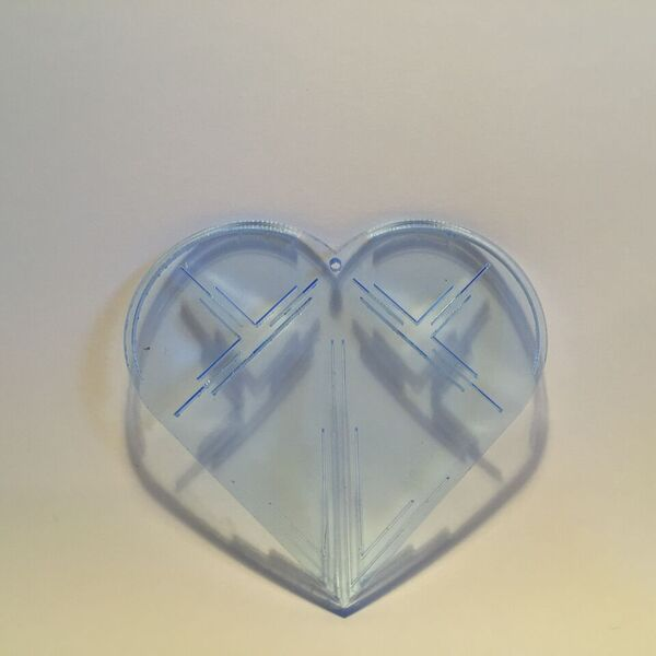 Ice blue christmas ornament, 3mm lasercut plexiglass. Designed and produced in Copenhagen.