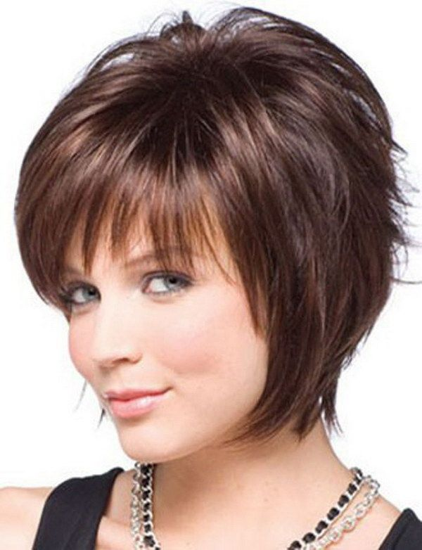 Short Hairstyles with Bangs for Round Faces and Thin Hair.