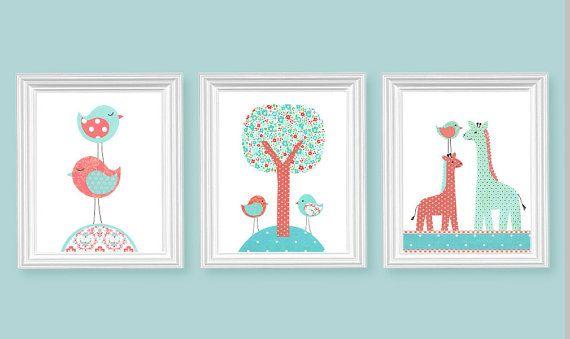 Aqua und Korallen Kindergarten Art Vögel Giraffe Baum Mädchens Zimmer Dekor…