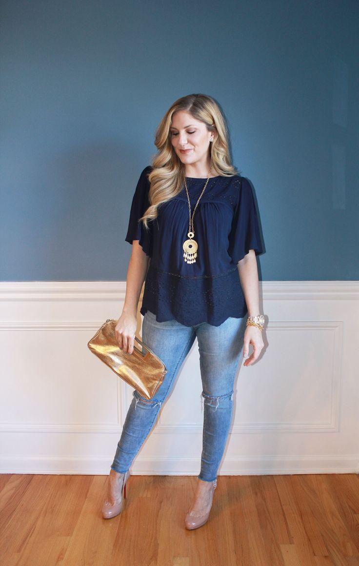 blue Target top, gold Michael Kors clutch, Stella & Dot necklace and bracelet, winter fashion