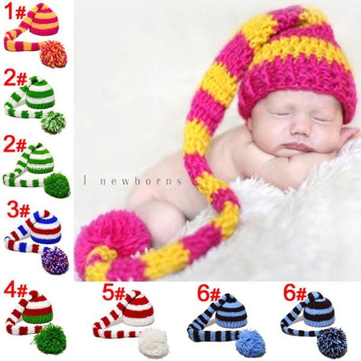 Детские пикси эльф рождество хэллоуин шапочка новорожденных эльф Hat повязка на голову полосатый крючком шляпа новорожденные фотографии реквизита купить на AliExpress