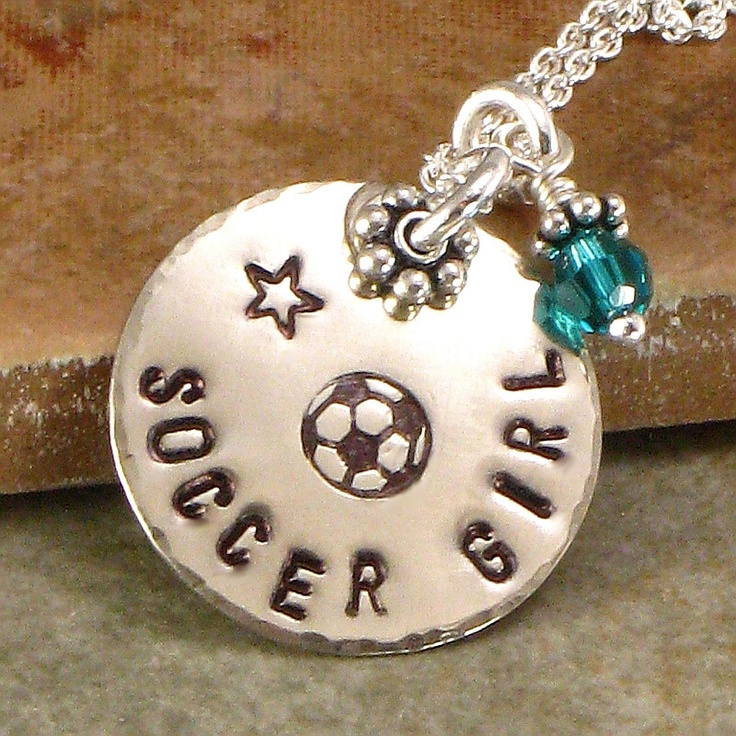 Necklace - Soccer Girl - Hand Stamped  - One Single Disc with Soccor Ball, Basketball, Football, Softball, Volleyball. $28.00, via Etsy.