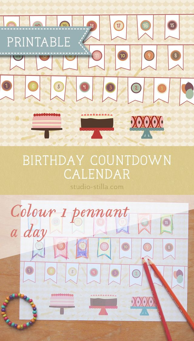 photo relating to Countdown Calendar Printable identify Birthday countdown calendar printable Birthday events