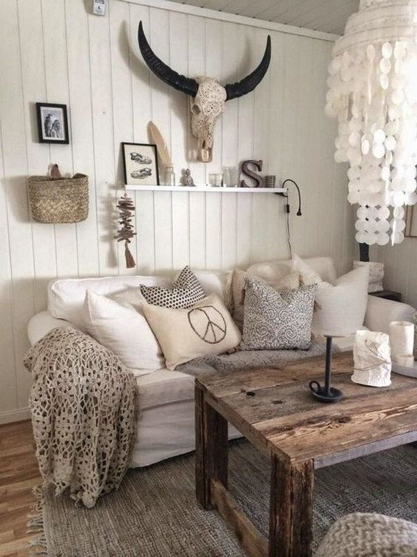 Rustic Living Room Withh Homemade Chandelier