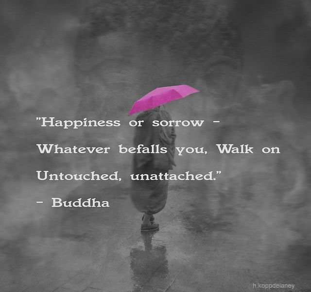 """""""Happiness or sorrow - whatever befalls you, walk on untouched, unattached."""" Buddha <3"""