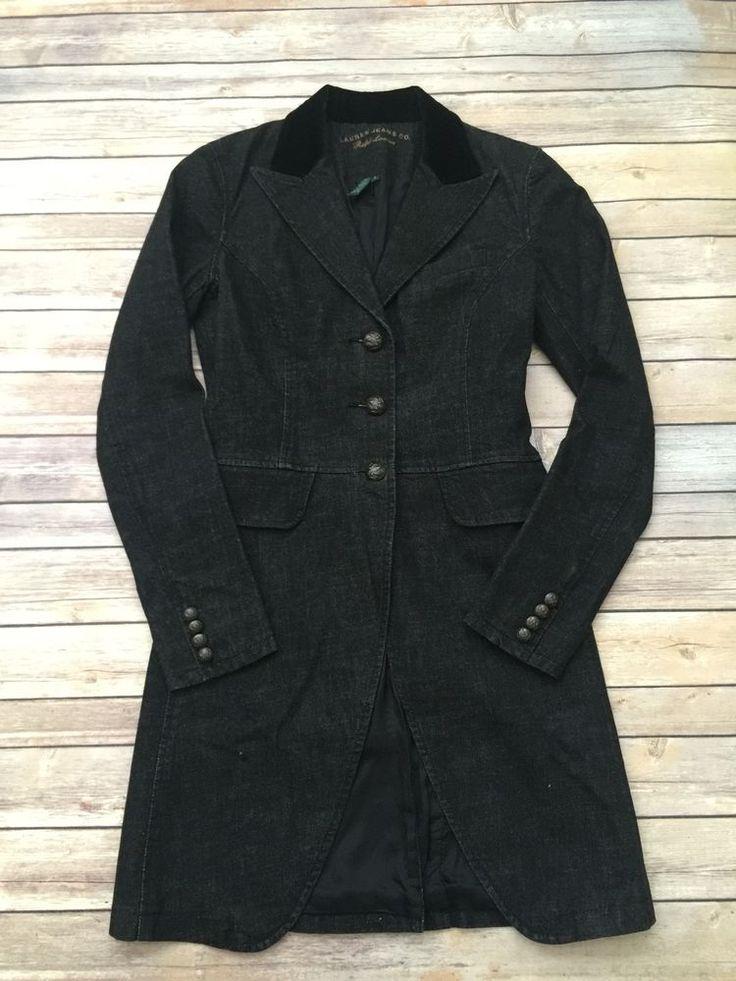 RALPH LAUREN Jacket Womens Size S Black Cotton Denim Velvet Collar Riding 99S #LaurenbyRalphLauren #JeanJacket