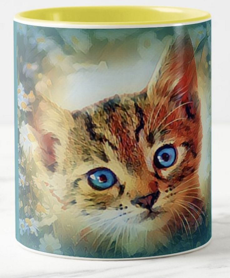 This gorgeous blue-eyed kitty looks for all the world, like a baby tiger cub! But it's stunning blue eyes give it away. What a beautiful gift for a friend of yours who is a cat-lover. I bet they've never seen anything like this!