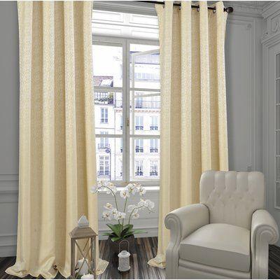 Ivy Bronx Janis Extra Wide Solid Room Darkening Grommet Curtain