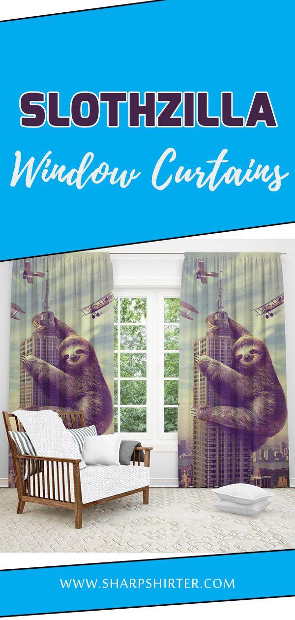 Slothzilla Window Curtain