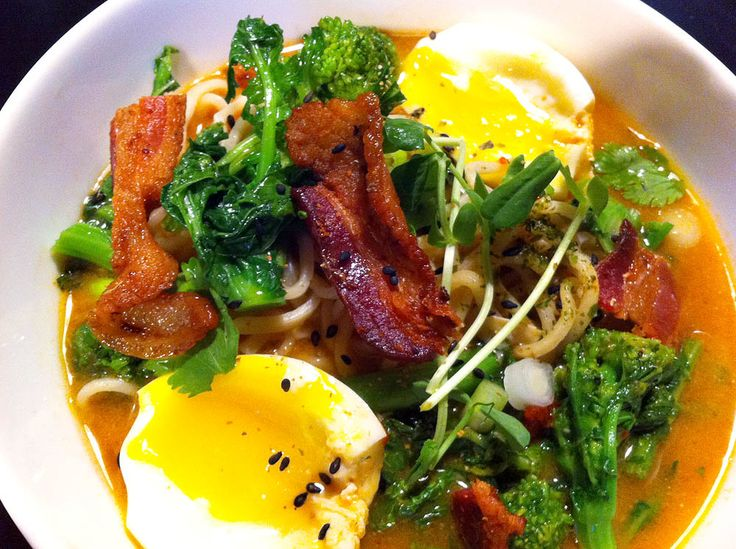 spicy bacon ramen with soft boiled egg, broccoli rabe, pea sprouts ...