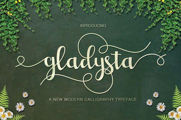 Gladysta Script (30%Off) by vanroem on @creativemarket
