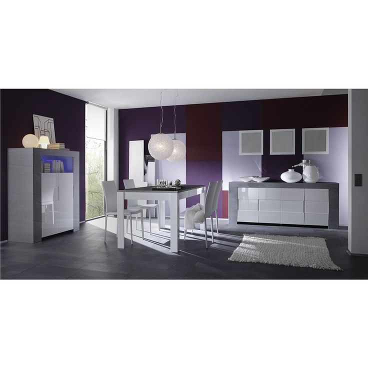 salle manger compl te blanc laqu et bois gris moderne. Black Bedroom Furniture Sets. Home Design Ideas
