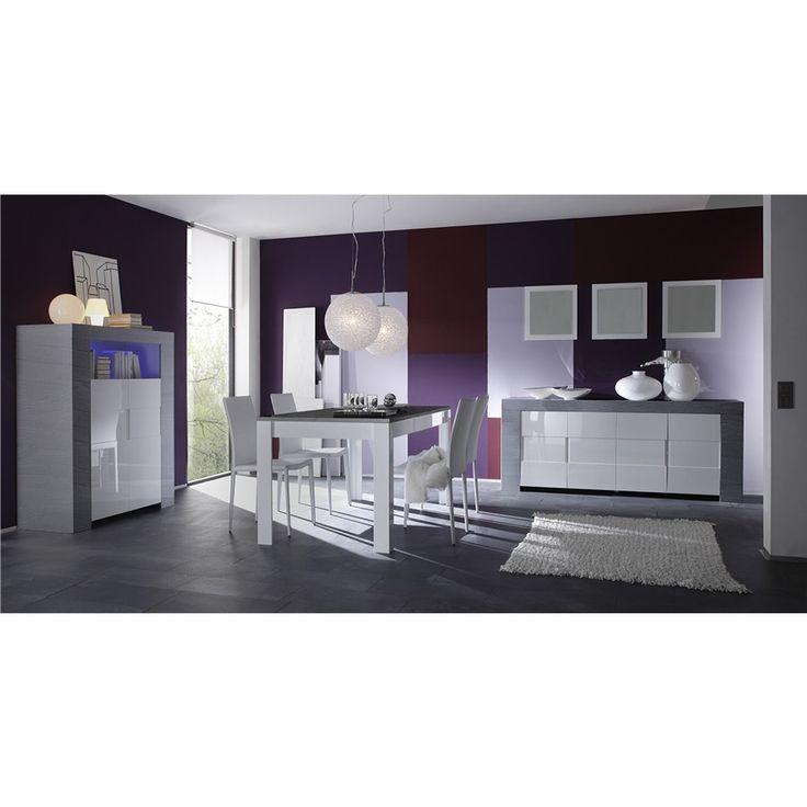 Salle manger compl te blanc laqu et bois gris moderne for Meuble salle a manger bois gris