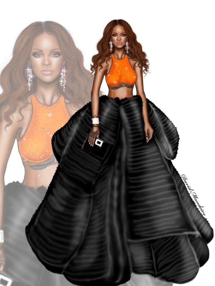 Rihanna wearing a Armani Privé outfit at the 2017 Grammy Awards in Los Angeles. #digitaldrawing by @david mandeiro illustrations #Rihanna #Badgalriri #ArmaniPrive #fashionblogger #digitalart #Wacom #AdobePhotoshopElementsEditor #Hautecouture