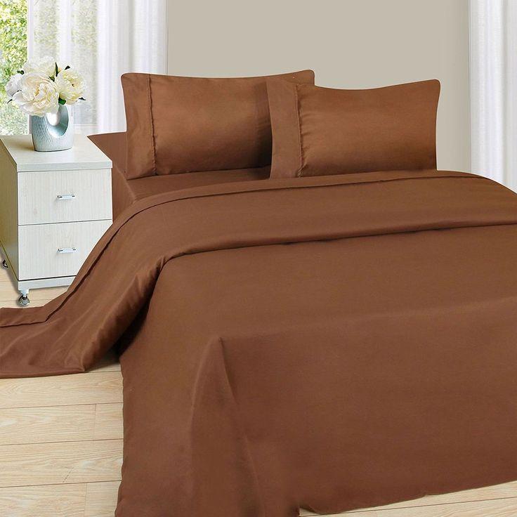 Lavish Home 1200 4-Piece Sheet Set Queen Size Chocolate Bedroom Linens Bedding #LavishHome