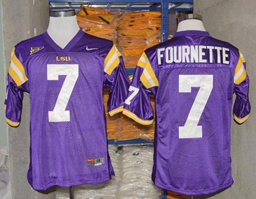 LSU Tigers #7 Leonard Fournette Purple Stitched NCAA Jersey