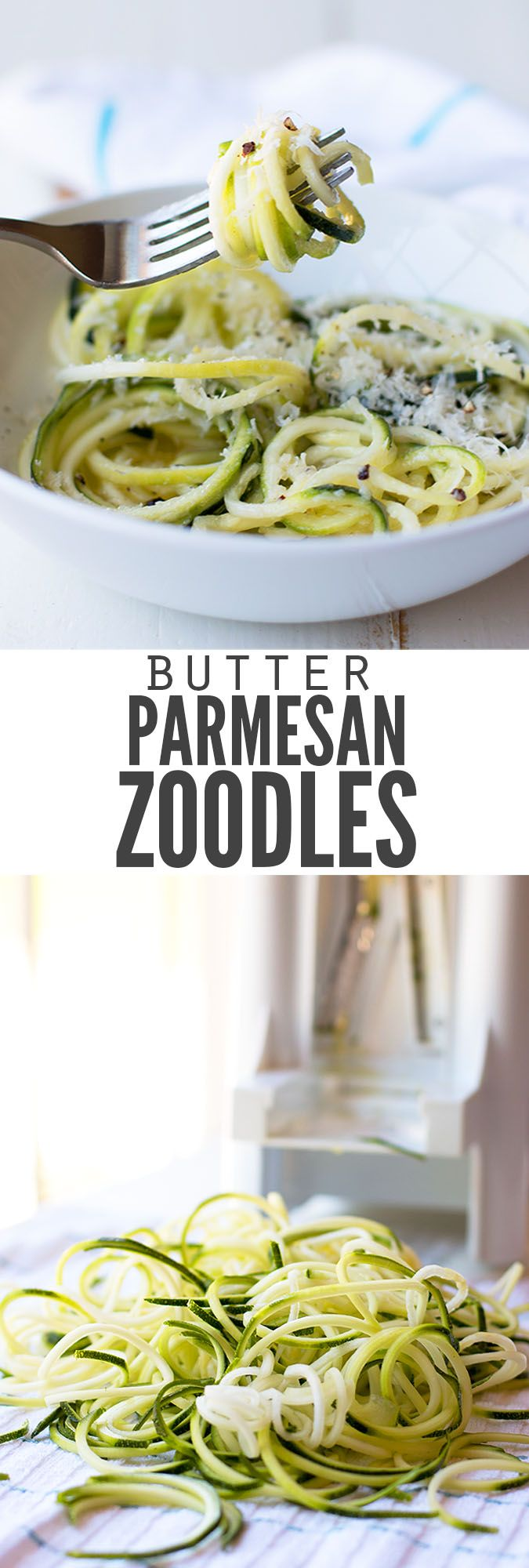 No-cook butter Parmesan zucchini noodles (zoodles) are ready in just 10 minutes. Add garlic if you want, but it's a great light dish for hot summer days! :: DontWastetheCrumbs.com
