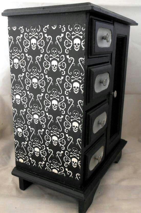 Skull stencils on a dresser