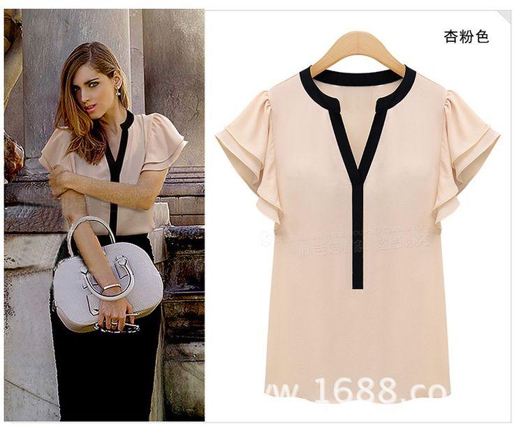 2015 New Women Blouses Ruffle Short Sleeve Chiffon Shirts Plus Size Female  Tops Women's Clothing Ladies