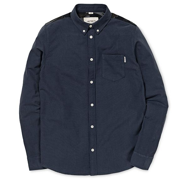 Carhartt WIP Blair Shirt - Navy / Camo Isle, Duke Blue (Rinsed)
