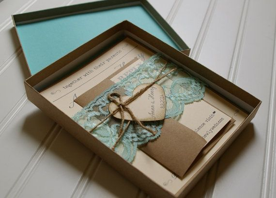 Rustic Wedding Invitations: Unique Boxed Lace and Twine Invites, Custom Colors on Etsy, £7.93