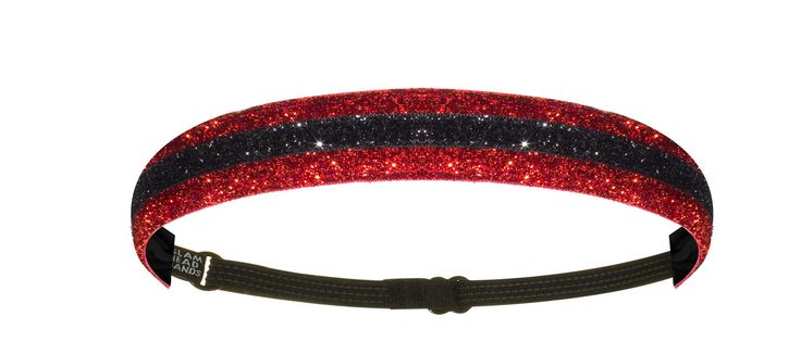 """1"""" Red and Black Double Sparkle Non-Slip Adjustable Headband"""