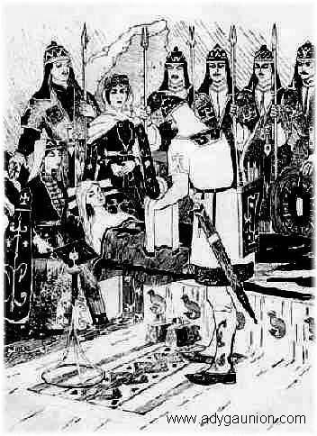 Circassian Art Gallery - Галерея Адыгского Искусства - Son Yüklenenler/Meretuko Davlet - Sataney at her Death Bed