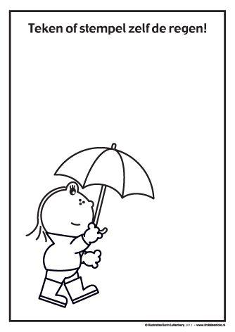 Teken of stempel de regen. Lola loopt in de regen maar eeehhh... waar is de regen?