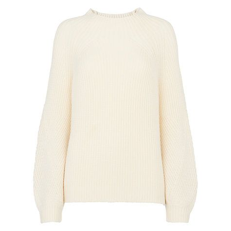 This looks like a great jumper to cosy up in. Wear over leather leggings or jeans.  Buy Whistles Fashioned Rib Blouson Sleeve Jumper, Ivory Online at johnlewis.com