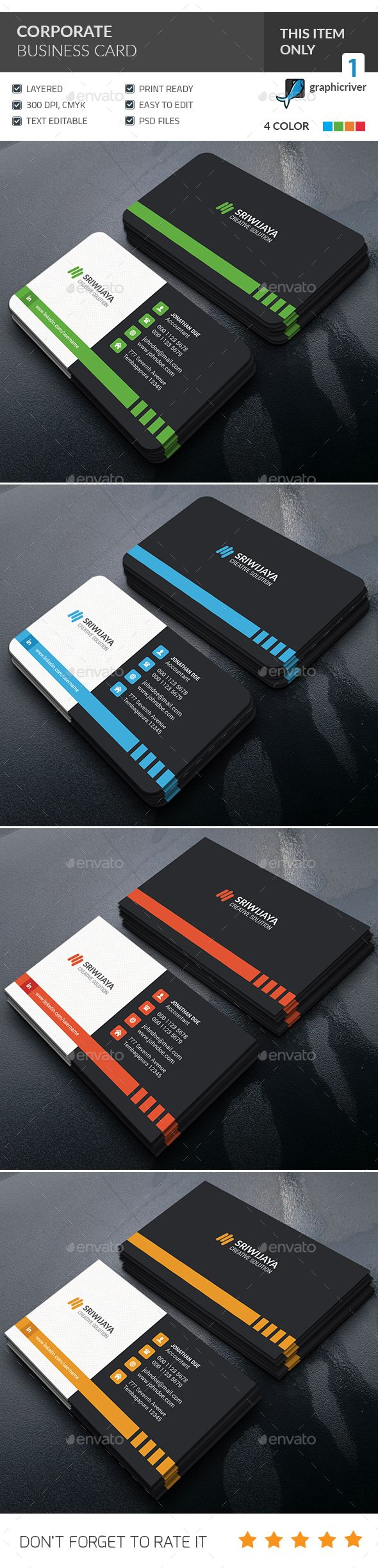 Corporate Business Card — Photoshop PSD #creative #light • Available here → https://graphicriver.net/item/corporate-business-card-/14319990?ref=pxcr