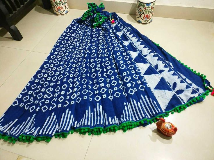 New hand block cotton pomopom sarees with blouse piece