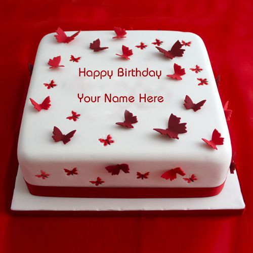 Write Name On Best Butterfly Birthday Cake Print Name On Red