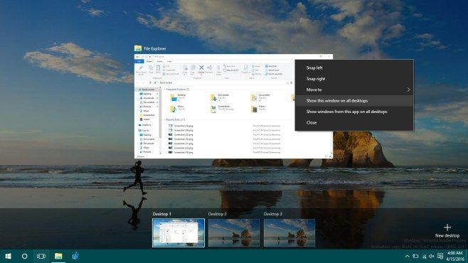 How To Pin An App Window To All Virtual Desktops In Windows 10 #hosted #virtual #desktops http://bahamas.remmont.com/how-to-pin-an-app-window-to-all-virtual-desktops-in-windows-10-hosted-virtual-desktops/  # How To Pin An App Window To All Virtual Desktops In Windows 10 The virtual desktops in Windows 10 is a highlight feature of the OS but it doesn t exactly blow away the competition. It s a feature that s been implemented as basically as possible. The good thing is that since it s Windows…