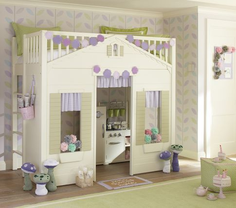 Kind of in love with a lot of the Pottery Barn Kids furniture. How cute is this cottage bed with a kitchenette inside?