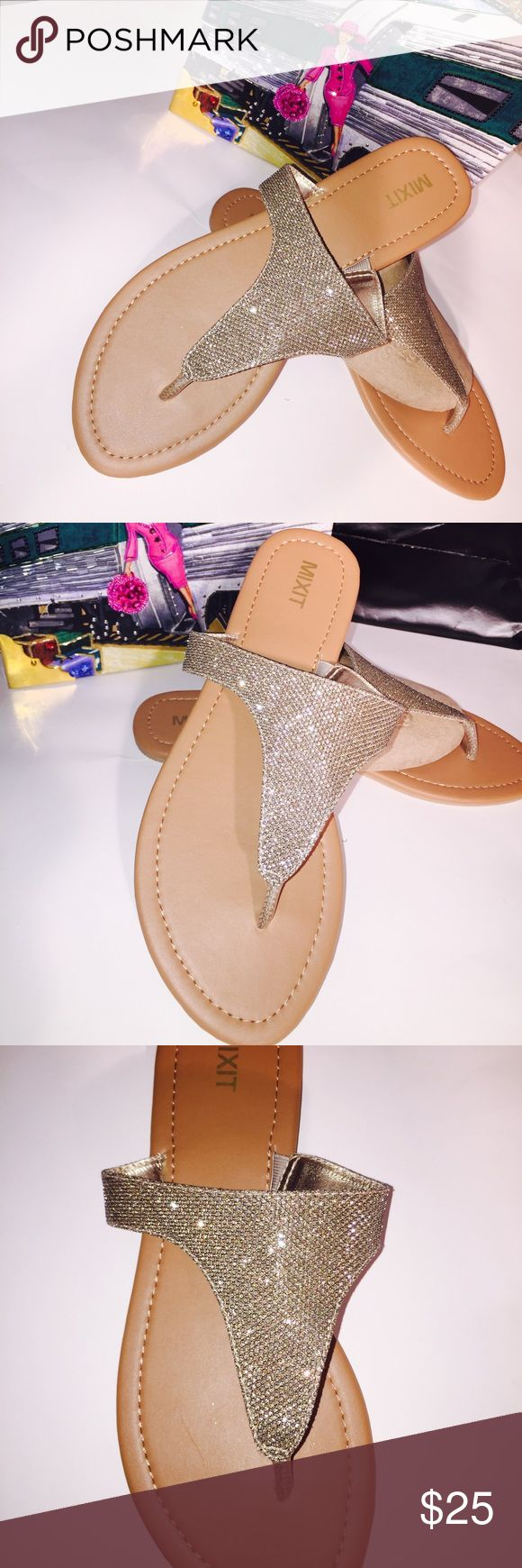 Sparkly glitter sandals 10 Sparkly glitter sandals/flip-flops flats brand-new beige and gold Shop and feel good about it 😁. Part of the money u spend goes to Purple Heart Foundation 💜 MIXIT Shoes Sandals