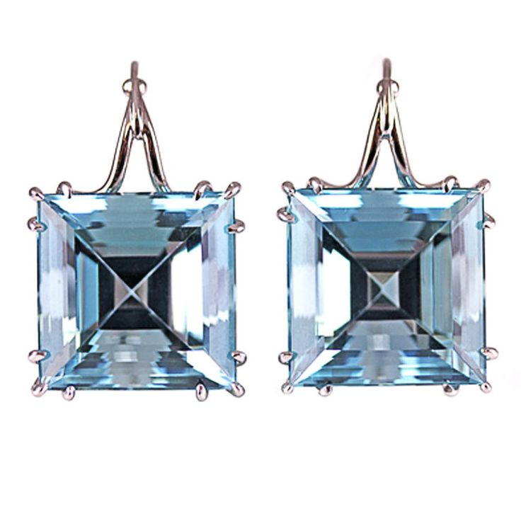 Spectacular Aquamarine Squares in Platinum. Vintage lever-back earrings at http://www.1stdibs.com/jewelry/earrings/lever-back-earrings/