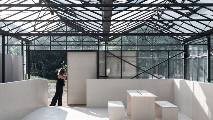 Birch plywood panels form partitions, platforms and furniture inside these greenhouses converted into an events space by London practice HASA Architects.