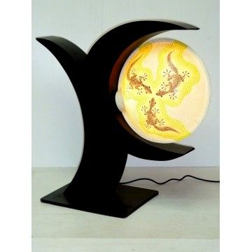 Sculptured Resin lamp. Shade on Wood Base 65cm
