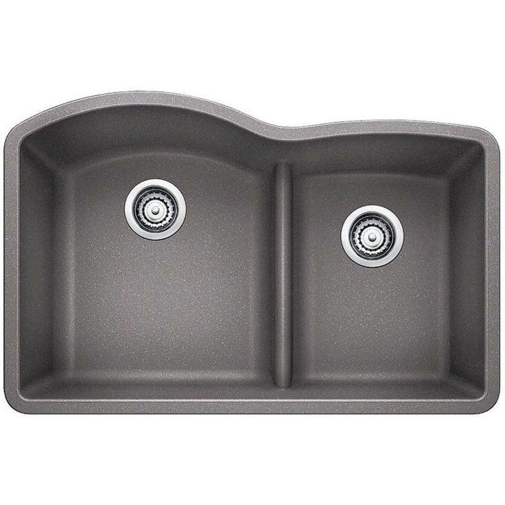 Blanco 441592 Diamond Metallic Gray Undermount Double Bowl Kitchen Sinks |eFaucets.com