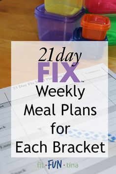 Your 21 Day Fix Meal planning just got easier! Here is a list of weekly 21 Day Fix meal plans, separated by calorie bracket. For more 21 Day Fix resources and recipes, head to http://www.FitFunTina.com