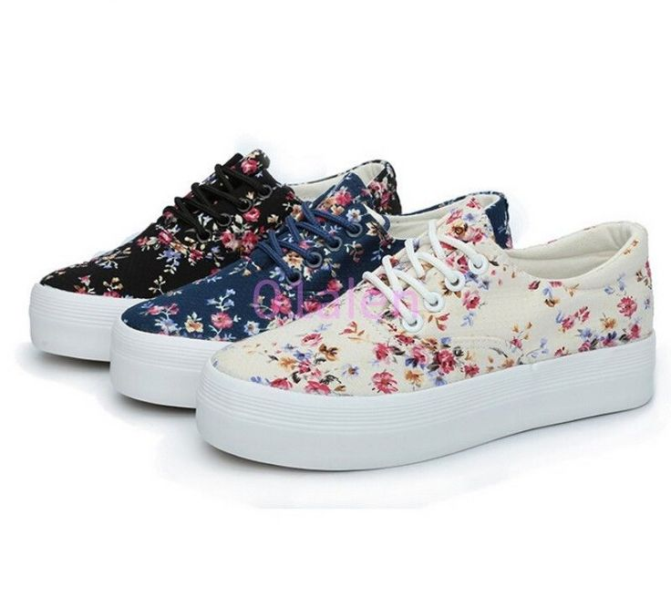 Womens Girls Floral Canvas Lace Up Flat Tennnis Sneakers Deck Shoes Plimsoll