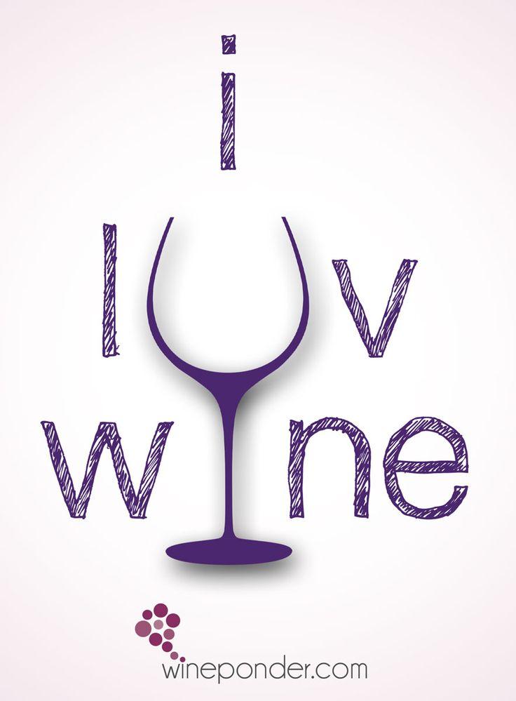 I ♥ Wine __[wineponder.com] (Wine glass Illustration Quotes) #winelove #cPurples #wineFont