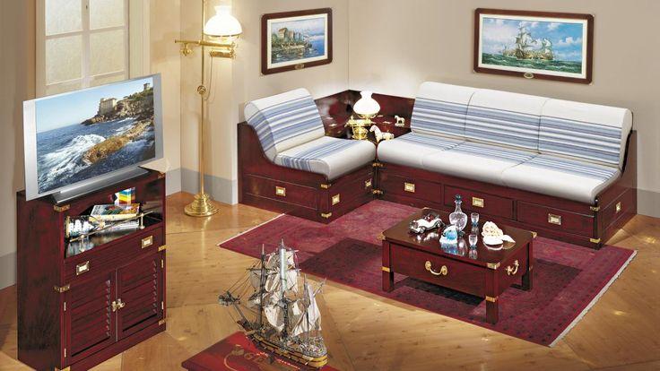 the modular sofa, coffered and with angular table