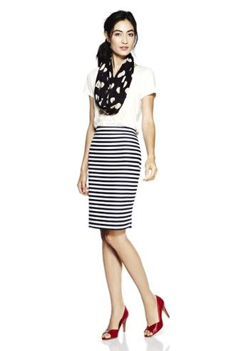 White tee with stripe skirt and heels
